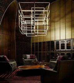 lamp - Four Seasons Private Residences Bengaluru Design Hotel, Lounge Design, Bar Lounge, Lobby Lounge, Linear Lighting, Lighting Design, Cube Furniture, Hanging Light Fixtures, Chandeliers