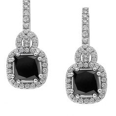 Black diamond pendant earrings Laurier - Diamond Earrings - Private Diamond ClubBlack diamonds with their mystical aura will add a touch of Art Deco to your style. A 1.35 carat square black diamond is set on a 0.23ct white G/VS diamond paving. The 18 k white gold setting weighs 4.6 grams.