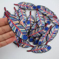 Patch de plume, Iron, ecussons brodés, Applique, broder, bleu, fleurs sauvages + Co. bricolage