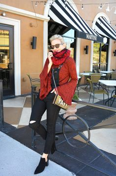 Love the dramatic sleeves, spicy color, and snuggly scarf.