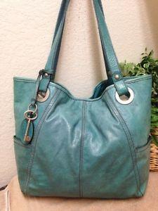 Fossil Hathaway Blue Turquoise Leather Handbag Shoulder Tote Per Bag Key Fob Ebay