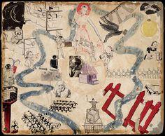 Nederlands Indië 1942-1945, ganzebordspel waarschijnlijk gemaakt in vrouwenkamp