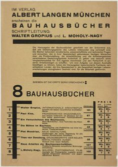 "Bauhausbücher  László Moholy-Nagy (American, born Hungary. 1895-1946)    Publisher: Verlag Albert Langen, Munich. Printer: Bauhausdruck. 1919-25. Letterpress, 9 x 6 5/16"" (22.9 x 16 cm). Jan Tschichold Collection, Gift of Philip Johnson. © 2011 Artists Rights Society (ARS), New York / VG Bild-Kunst, Bonn  756.1999"
