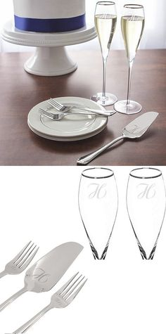A wedding souvenir the bride and groom can use forever, this silver rim toasting flutes and cake serving set personalized with choice of large single initial or 2 lines of custom print will make the cake cutting ceremony even more memorable for years to come. This 5 piece wedding cake cutting and toasting set can be ordered at http://myweddingreceptionideas.com/personalized-silver-rim-flutes-cake-serving-set.asp