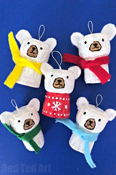 More crafty Ornaments from Red Ted art today - Easy Cork Polar Bear Ornament. Upcycle Champagne Corks and Wine Corks and turn them into Simple Polar Bear Cork Ornaments for DIY Christmas Decorations. Kids Crafts, Animal Crafts For Kids, Christmas Crafts For Kids, Diy Christmas Ornaments, Holiday Crafts, Christmas Decorations, Creative Crafts, Fall Crafts, Merry Christmas