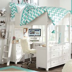 Beadboard Loft Bed. I love this loft bed and the thing I love the most about is the wrap around desk!