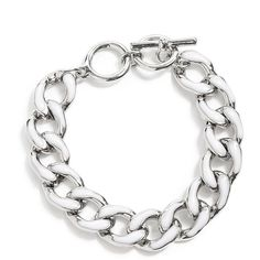 GUESS Silver-Tone Chain Link Bracelet With White Enamel Finish ($22) ❤ liked on Polyvore