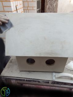 Process of construction of a house for birds, made with cement panels and reinforced wood, covered with flexible cement and painted with anticorrosive modified alkyd enamel; for location in the foreground Cement, Artisan, Enamel, Construction, Birds, Wood, Outdoor Decor, House, Painting