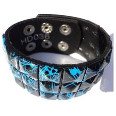 Blue Line Checkered Studded Black Leather Bracelet ($4.53) ❤ liked on Polyvore featuring jewelry, bracelets, wide bangle, studded jewelry, blue bangles, leather bangles and blue jewellery