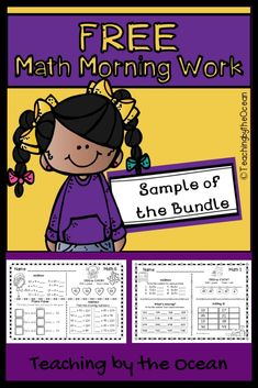 This is a sample of my First Grade Math Morning Work - All Year Growing Bundle. Use these for morning work, homework, seat work or early finishers. Lower second grade students would benefit from this pack as well. School Resources, Math Activities, Teaching Resources, First Grade Math, Grade 1, Second Grade, Free Math, Morning Work, Creative Teaching