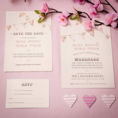 Vintage Flower Bunting Wedding Invitation Collection in Pink -  (photo includes Save the Date, Wedding Invitation & RSVP Card)