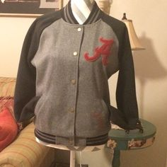 Pink varsity jacket Alabama varsity jacket. Brand is Pink by Victoria's Secret. Worn once to ballgame. Condition is like new PINK Victoria's Secret Jackets & Coats