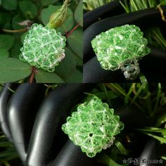 Foxy Boxy Peridot Swarovski Crystal Ring by CrystalRenewsBeads