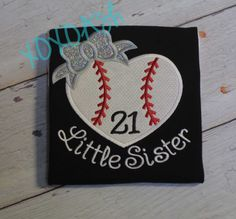 Baseball Heart with Bow--Little Sister-- Applique Baseball Shirt or bodysuit- Baseball Sister Shirt by XOXOAsh on Etsy