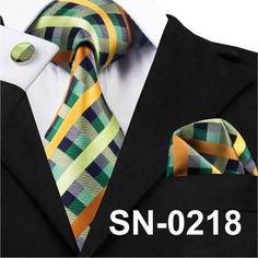 SN-467 Darkgray Pink Blue Plaid Tie Hanky Cufflinks Sets Men's 100% Silk Ties for men Formal Wedding Party Groom