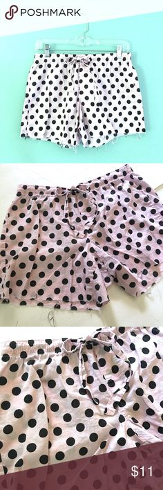 "❗️️FINAL❗️VS Polka Dot Lounge Cutoffs Victoria's Secret pink and black polka dot lounge Cutoffs // sz S // 100% cotton // 14.5"" waist laid flat // 9"" rise // 4"" inseam // elastic waist band with drawstring // not my size. Can't model // 20% off 3+ Bundles // offers welcome// Same/next day shipping // 6.29.11 No trades Victoria's Secret Shorts"