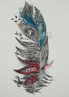 Garden Feather-Original Artwork 5x7 Ink and Water Colours. $50.00, via Etsy.