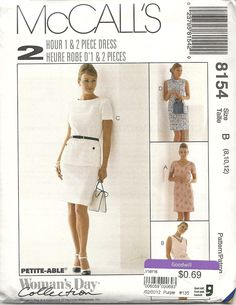 McCall's 8154 (sizes 8-12) 2 Hour 1 & 2 piece dress, in 3 views. Suitable for Rayons, Lt wt linen, crepe, Gabardine etc. 1996. 96c from Goodwill.