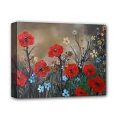"""Poppy+Garden+Deluxe+Canvas+14""""+x+11""""+(Framed)+Deluxe+Canvas+14""""+x+11""""+(Stretched)"""