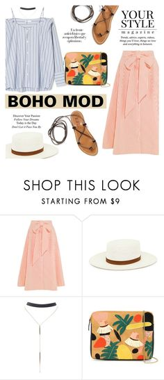 """""""Boho Mod"""" by alexandrazeres ❤ liked on Polyvore featuring Lisa Marie Fernandez, Janessa Leone, K. Jacques, Wet Seal, Lizzie Fortunato, Pussycat, Arco, modern, fashionset and modernbohemian"""
