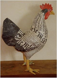 """Discover thousands of images about Cute heart things: Papier-mache: """"Farm Frenzy sisters Aude Goalec & Nicole Jacobs (France Paper Mache Projects, Paper Mache Clay, Paper Mache Sculpture, Paper Mache Crafts, Sculpture Projects, Art Projects, Chicken Wire Crafts, Chicken Art, Paper Birds"""