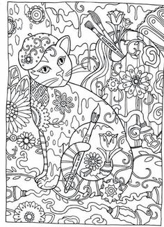Cat Cats Kitty Kitties Kitten Kittens Feline Gatos Katze Chat Gatto Kocka Druku Gato Katt Macska Tulostettava Coloring Pages Colouring Adult