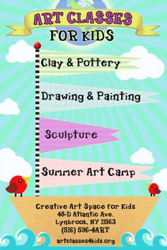Creative Art Space for Kids Foundation: Childrens art classes and exhibitions Long Island New York Kids Art Class, Art For Kids, Art Children, Kid Art, Projects For Kids, Art Projects, Crafts For Kids, Art Class Posters, Pamphlet Design