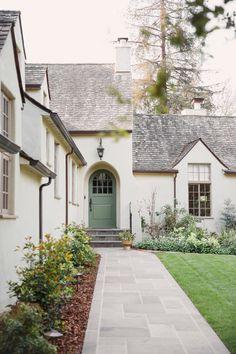 The Eclectic Tudor – Cecy J Interiors Tudor Exterior Paint, Tudor House Exterior, Exterior House Colors, Exterior Design, Stucco Exterior, French Country Exterior, Tudor Style Homes, Tudor Homes, Exterior Makeover