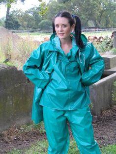 Turquoise PVC Hooded Raincoat