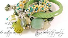 """Tanya Lochridge Jewelry Green Aventurine, Prehnite & Pearl Gemstone Bracelet stacked with a """"friendship"""" bangle in colors of jade from my collection & a bakelite bangle from my personal vintage collection. #tanyalochridgejewelry"""