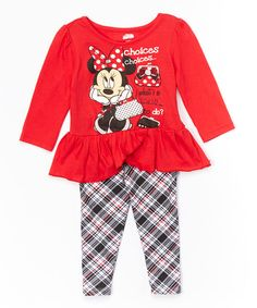 Look at this Red Minnie Mouse Tunic & Leggings - Infant, Toddler & Girls on #zulily today!