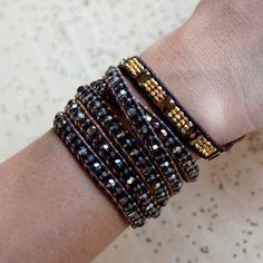 Smokey and Bronze Shade Wrap Bracelet on Saada Leather - Chan Luu