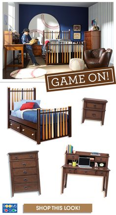 The Sporty Batter Up Bedroom Collection Will Take Him Out To Ball Game Every Day