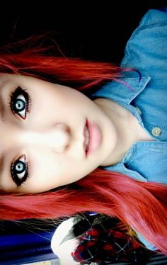 I think bright red hair and my blue eyes will work well together. Cute Makeup, Pretty Makeup, Hair Makeup, Simple Makeup, Indie Hair, Emo Hair, Bright Red Hair, Alternative Hair, Scene Girls