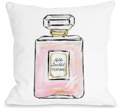 HELLO BEAUTIFUL PERFUME PILLOW BY TIMREE GOLD | Eau de elegant. Add some girly chic to your room with the Hello Beautiful Perfume Pillow by artist Timree Gold. Featuring a playful perfume bottle printed on white ground, this pillow is both cute and stylish. #dormify #throwpillows #perfume