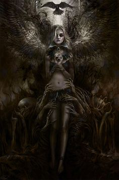 Dark fantasy art IDEA: a flying angel with her arm/s inline with a wing/ the wings - this creates a powerful, sexy look. My Demons, Angels And Demons, Arte Horror, Horror Art, Dark Fantasy Art, Dark Art, Dark Gothic Art, Gothic Artwork, Fantasy Girl