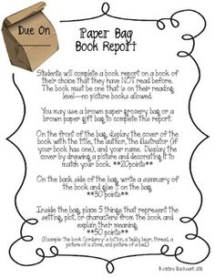 paper bag book report rubric elementary This uniquely shaped game board book report project contains assembling directions, first draft worksheets, final draft templates, grading rubric, and a matchin.