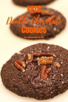 KETO Double Chocolate Cookies are the perfect Low Carb sweet treat.  These really are a MUST MAKE! . #keto #chocolate #cookies #pecans #sparklesnsprouts