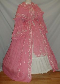 Splendid 1860's Embroidered Pink Cotton Robe Museum De-accessioned