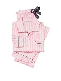 6f535fd25e Victorias Secret Womens The Afterhours Satin Pajama 2 piece set Medium Pink  Stripe   You can