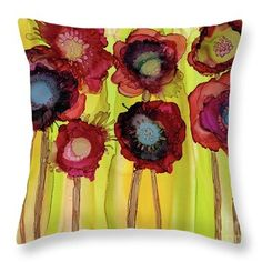 Throw Pillow featuring the painting Flowerbed by Beth Kluth