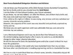 voluntário basquete frança vitor Galvani rio 2016 carta pais (Foto: Arquivo Pessoal)