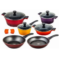 Chefline 12 Piece Swiss Inspired Diamond Frying Pan Non-Stick & Ceramic Pot Set
