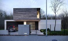 T House by Stoprocent Architekci – aasarchitecture Modern House Facades, Modern Architecture House, Modern House Plans, Residential Architecture, Modern House Design, Architecture Design, Design Exterior, Modern Exterior, Exterior Tradicional