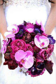 Marsala Peonies, Hot Pink English Garden Roses, Purple Anemones, Pink Phalaenopsis Orchids