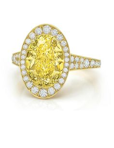 4.43 carat Yellow Diamond Paddle Ring