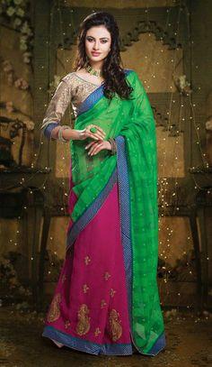 USD 51.18 Green and Pink Cotton Resham Work Wedding Saree 30852