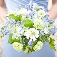 #blue wedding #wildflower bouquet Gathered hydrangea, viburnum, laced artemisia and muscari blooms
