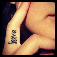 "Small Love Tattoos For Girls little finger tattoo saying "" love ..."