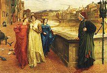 Henry Holiday, Dante incontra Beatrice al ponte Santa Trinita, dipinto a olio, 1883, Walker Art Gallery, Liverpool